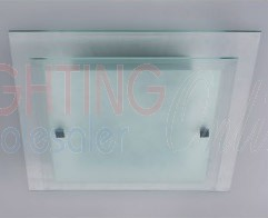 Carton of 12 x Elegant Glass Square Ceiling Light - E27 Socket