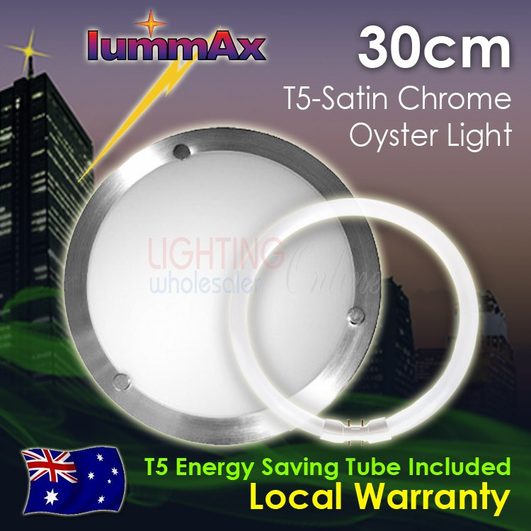 Lummax Solo Satin Chrome Oyster Ceiling Light with T5 Energy Saving Tube 30cm