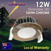LUMMAX 12W Dimmable LED Downlight Kit 90mm Cutout  Satin Chrome