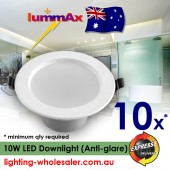 10 x LUMMAX 10W Dimmable LED Downlight Kit 90-100mm cut out Anti-glare Style Snowy White