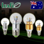 5 x LEAFI 3W E14 / E27 LED Energy Saving Spherical Candle Light Bulbs Globes