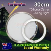 Lummax Luna Frame Satin Chrome Oyster Ceiling Light with T5 Energy Saving Tube 30cm