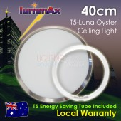 Lummax Luna Frame Satin Chrome Oyster Ceiling Light with T5 Energy Saving Tube 40cm